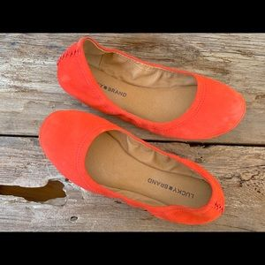 Lucky Brand orange suede ballet flats women's 9.5